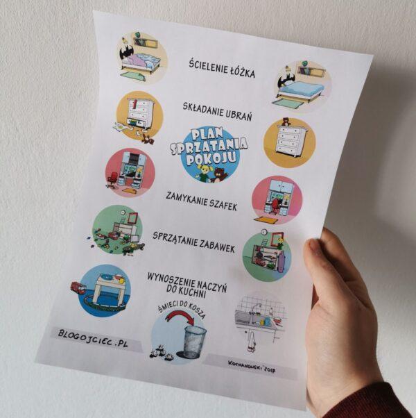 """Plakat dla dzieci """"Plan Sprzątania Pokoju"""" (PDF do druku)"""